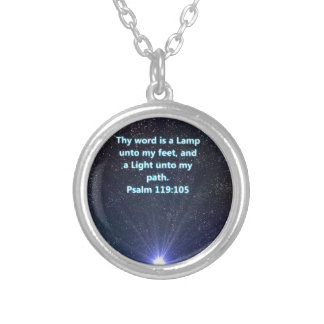 Psalm 119 bible verse silver plated necklace