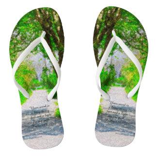 Psalm 119 verse 105 on flip flops thongs