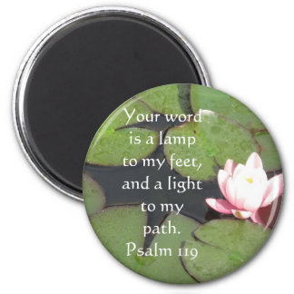 Psalm 119 Your word is a lamp to my feet 6 Cm Round Magnet