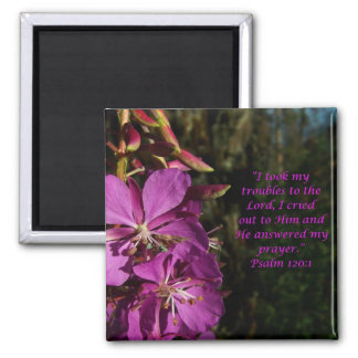 Psalm 120:1 Encouragement Purple Flower Magnet