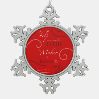 Psalm 121:2 pewter snowflake decoration