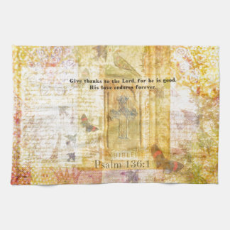Psalm 136:1 Give thanks to the Lord Tea Towel