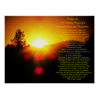 Psalm 141 with bright Sunset over Mountains Poster