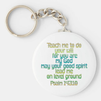 Psalm 143:10 basic round button key ring