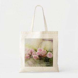 Psalm 147:11, Bible Verse, Basket of Pink Roses,