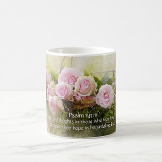 Psalm 147:11, Bible Verse, Basket of Pink Roses, Coffee Mug