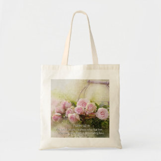 Psalm 147:11, Bible Verse, Basket of Pink Roses, Tote Bag