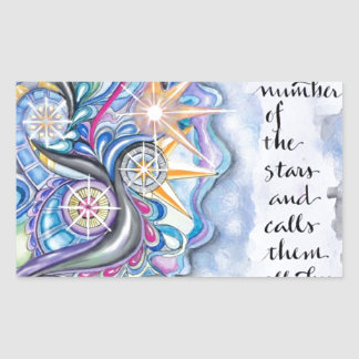 Psalm 147:4 He Calls The Stars by Name Rectangular Sticker