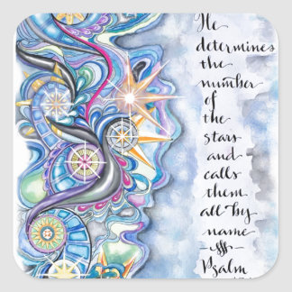 Psalm 147:4 He Calls The Stars by Name Square Sticker