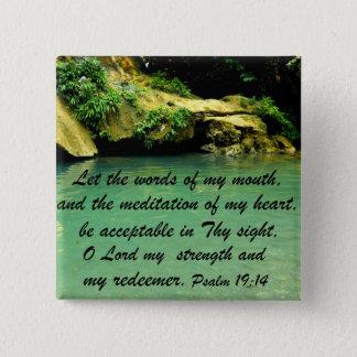 Psalm 19:14 15 cm square badge