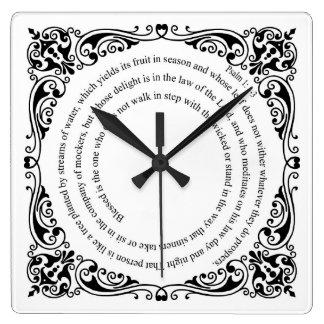 Psalm 1: 1- 3 Square Wall Clock