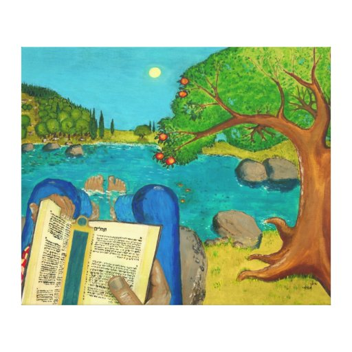 Psalm 1 Canvas Print - Man reads Psalm 1 in Hebrew