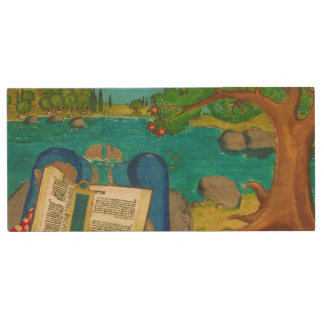 Psalm 1 in Hebrew Bible Jewish Christian Paintings Wood USB 3.0 Flash Drive
