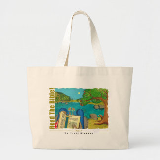 Psalm 1 - Man reads Psalm 1 in Hebrew Bible Tote Bags