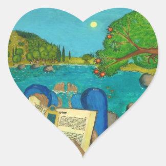 Psalm 1 - Man reads Psalm 1 in Hebrew Bible Heart Sticker