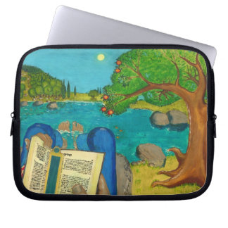 Psalm 1 - Man reads Psalm 1 in Hebrew Bible Laptop Computer Sleeve