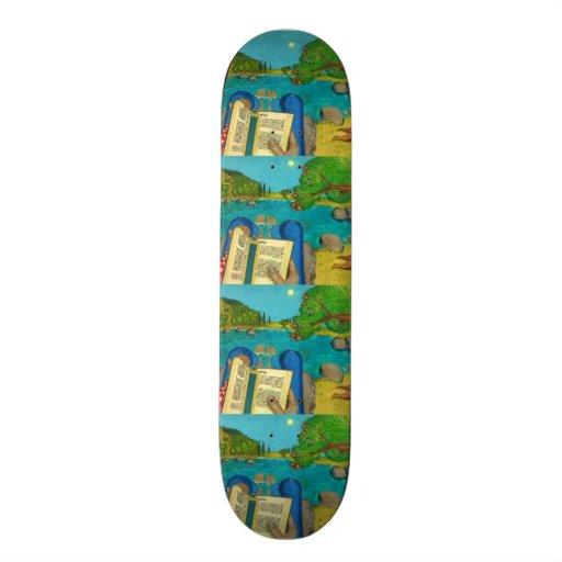 Psalm 1 - Man reads Psalm 1 in Hebrew Bible Skate Board