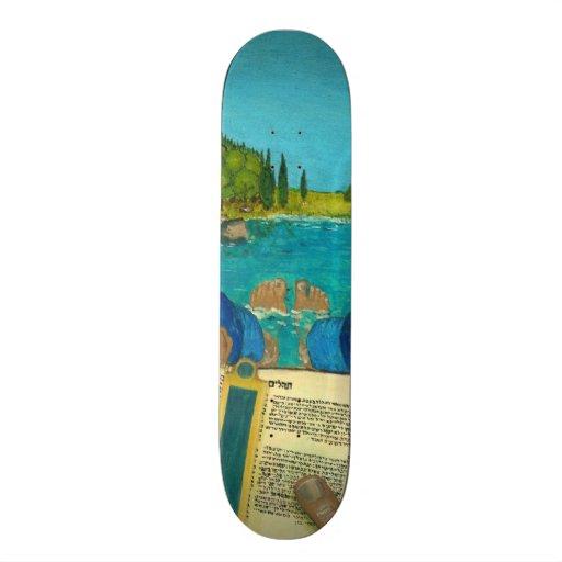 Psalm 1 - Man reads Psalm 1 in Hebrew Bible Custom Skateboard
