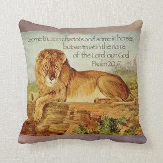 Psalm 20:7 Christian Lion Bible Verse Cushion