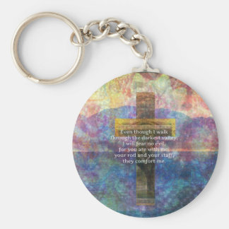 Psalm 23:4 - Even though I walk through... Key Ring