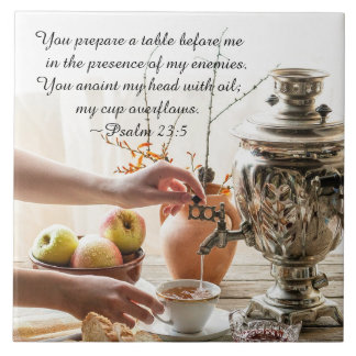 Psalm 23:5 You prepare a table before me, Bible Tile