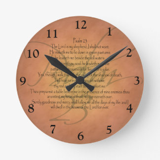 Psalm 23 KJV Christian Bible Verse Round Clock