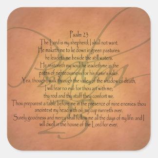 Psalm 23 KJV Christian Bible Verse Square Sticker