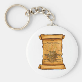Psalm 23 on Old Scroll: Pastel Art: Scripture Basic Round Button Key Ring