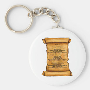 Psalm 23 on Old Scroll: Pastel Art: Scripture Key Ring