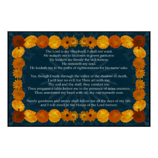 Psalm 23 with a Calendula Frame Poster