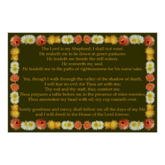 Psalm 23 with Barrel Cactus Frame Poster