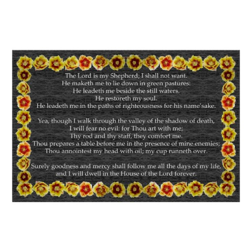 Psalm 23 with Prickly Pear Cactus Frame Poster