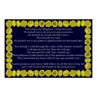 Psalm 23 with Prickly Pear Cactus Frame Print
