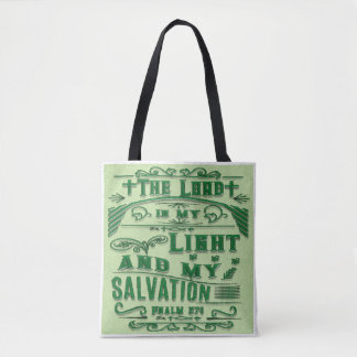 Psalm 27:1 Bible Verse Tote Bag