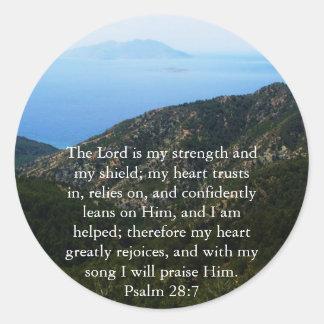 Psalm 28:7  beautiful Bible passage Classic Round Sticker