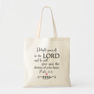 Psalm 37:4 Bible Verse Christian Faith Tote Bag
