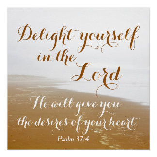 Psalm 37:4 Bible Verse, Sandy Ocean Beach Poster