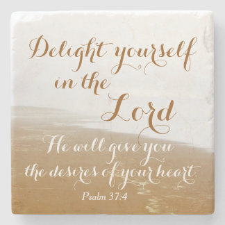 Psalm 37:4 Bible Verse, Sandy Ocean Beach Stone Coaster