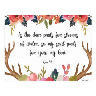 Psalm 42:1, Floral Antlers Bible Verse Postcard