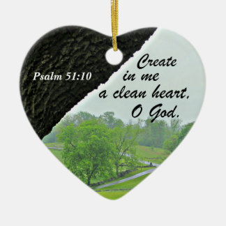 Psalm 51:10 Create in me a clean heart Ceramic Heart Decoration