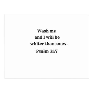 Psalm 51:7 Wash me and I shall be whiter than snow Postcard