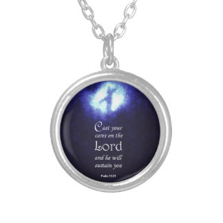 Psalm 55:22 silver plated necklace