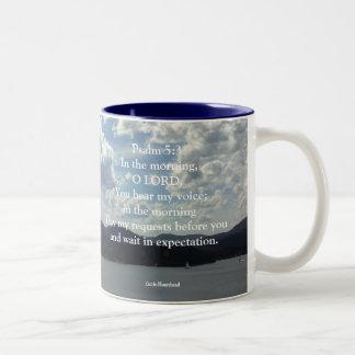 Psalm 5:3 Two-Tone coffee mug