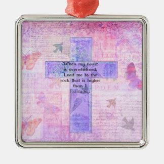 Psalm 61:2 Beautiful Bible verse & Christian art Christmas Ornaments