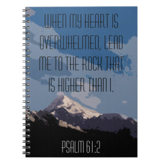 Psalm 61:2 Bible Verse Quote Mountain Graphic Spiral Note Book