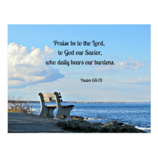 Psalm 68:19 Praise be to the Lord, to God .... Postcard