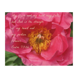 Psalm 73:26 Hot Pink Peony Wood Wall Decor