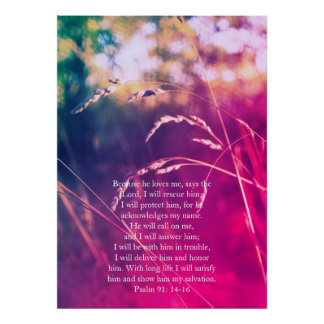 Psalm 91, Christian poster with dreamy grass