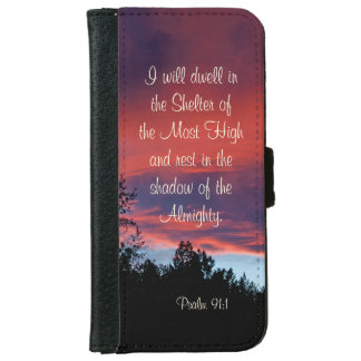 Psalm 91 I will dwell in the secret place, Sunset iPhone 6 Wallet Case