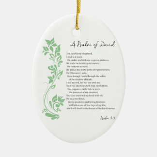 Psalm of David The Lord is my Shepherd Bible Verse Ceramic Oval Decoration